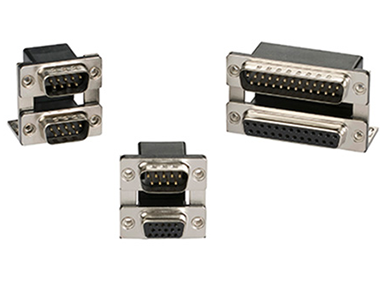 PCB mount dual-port D-sub connectors