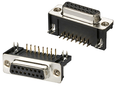 PCB mount right-angle D-sub connectors 10.2 mm footprint